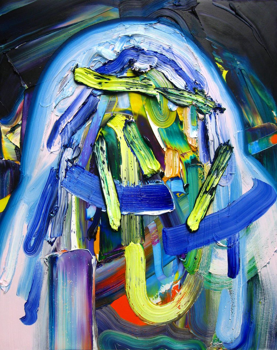 """Moon glow Oil on mylar mounted on panel 30"""" x 24"""" 2014"""