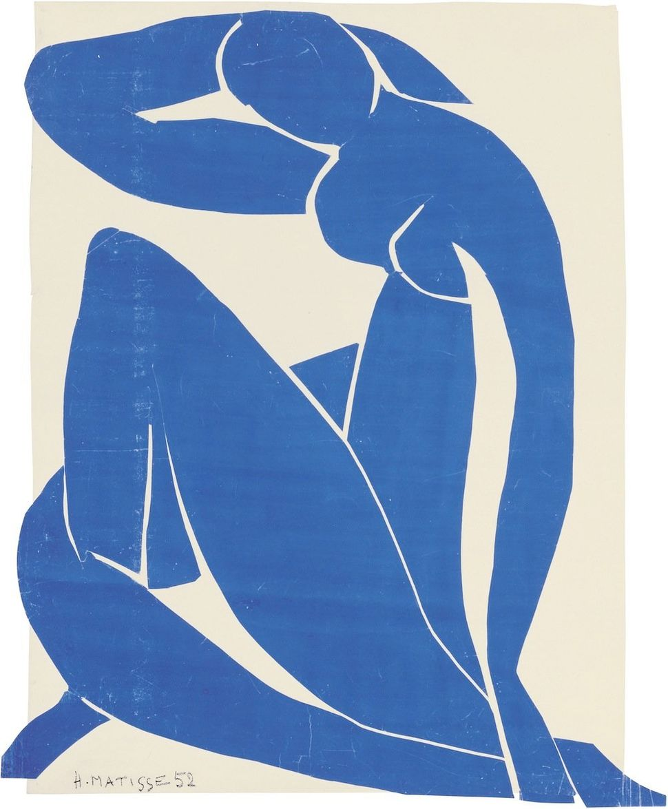 Henri Matisse (French, 1869-1954). Blue Nude II (Nu bleu II), spring 1952. Gouache on paper, cut and pasted, on white paper,