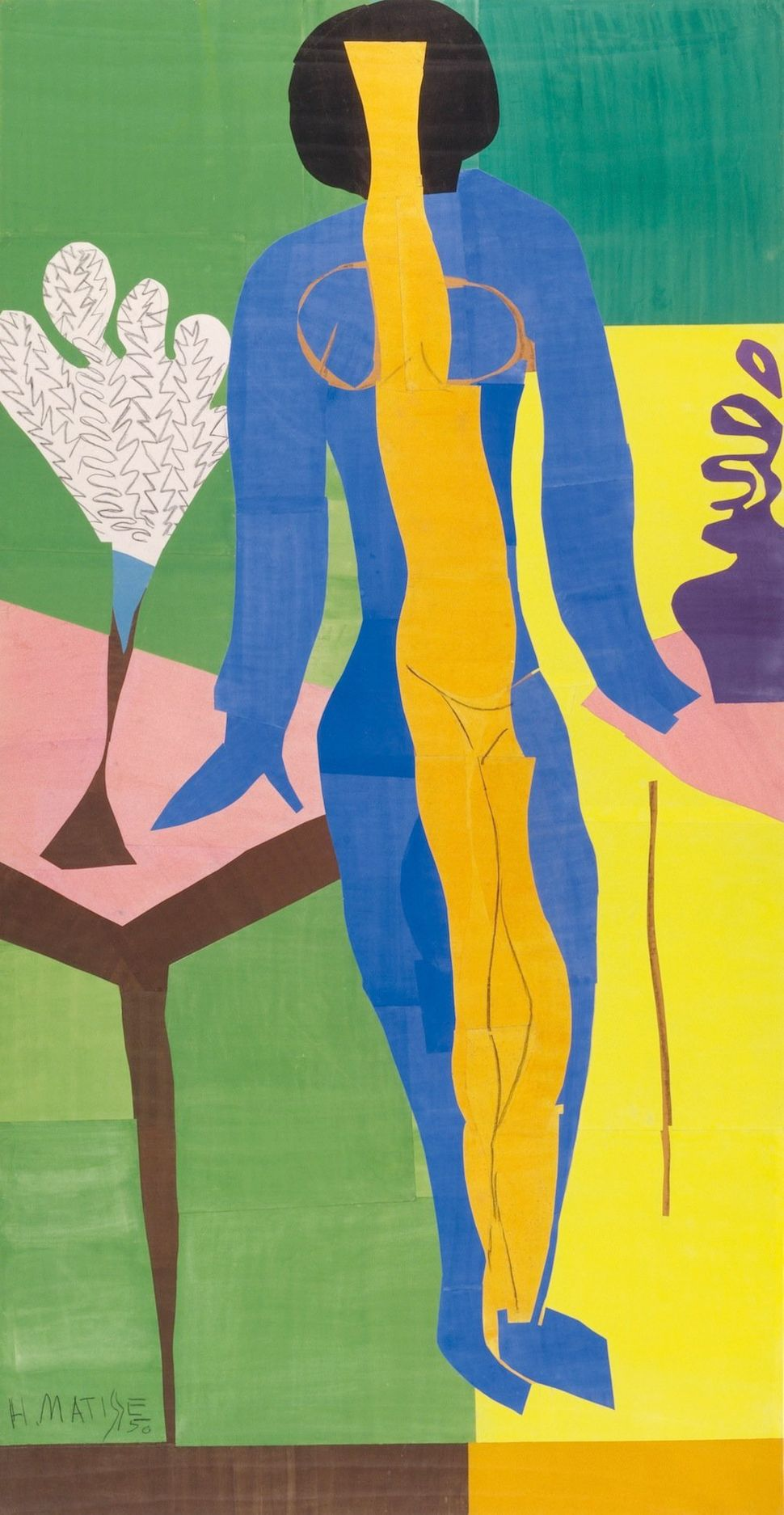 Henri Matisse (French, 1869-1954). Zulma, early 1950. Gouache on paper, cut and pasted. 93 11/16 x 52 3/8″ (238 x 133 cm). St