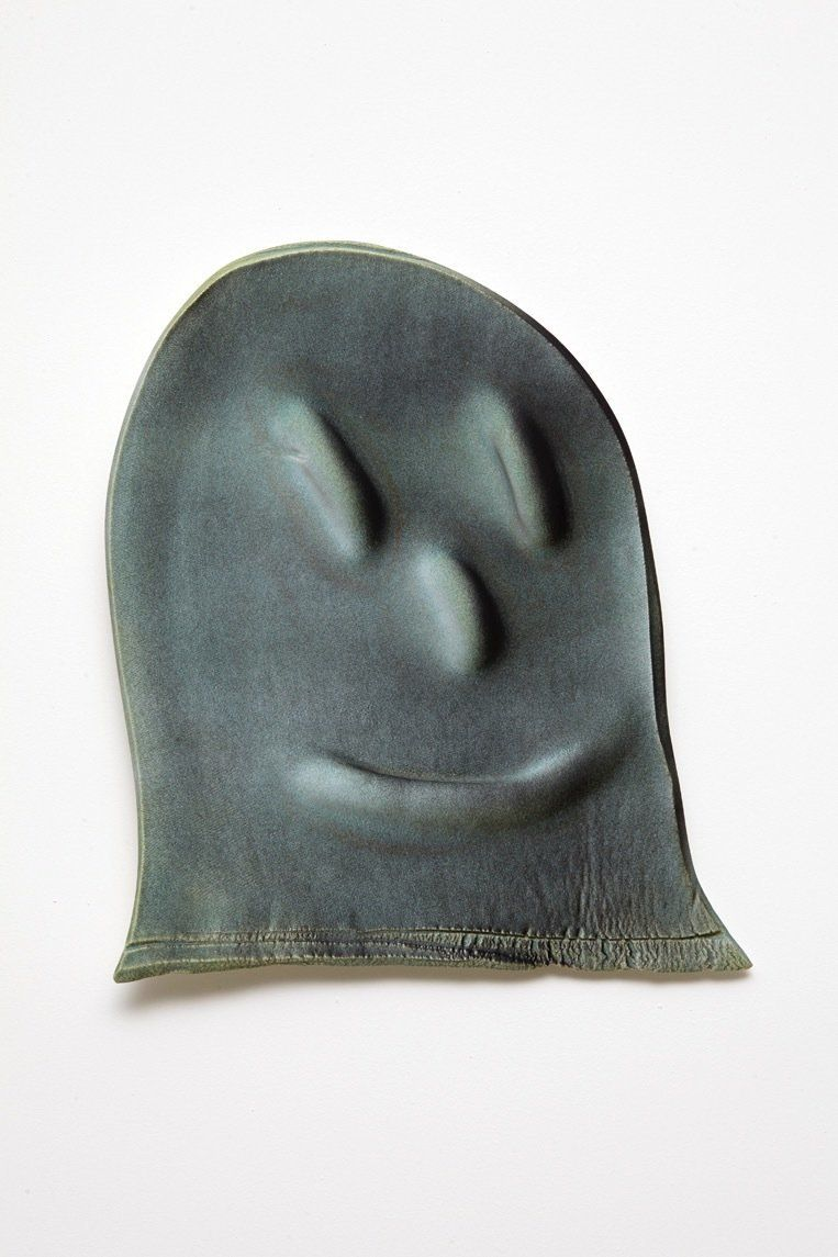 Dan McCarthy Space Ghost #20, 2014 Low fire clay and glaze with enamel paint 16.5 x 14.25 x 1.5 inches Signed and dated on th