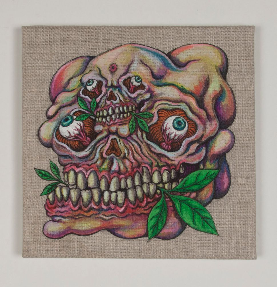 """""""Chew You Olive Branch"""" 2014 Ink and Textile Pigment on Linen  9 x 9 in"""