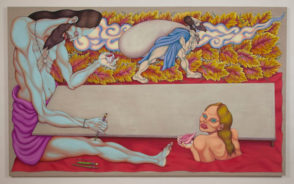 """""""Painter""""  2014-2015 Ink and Textile Pigment on Linen  53 x 87 in"""
