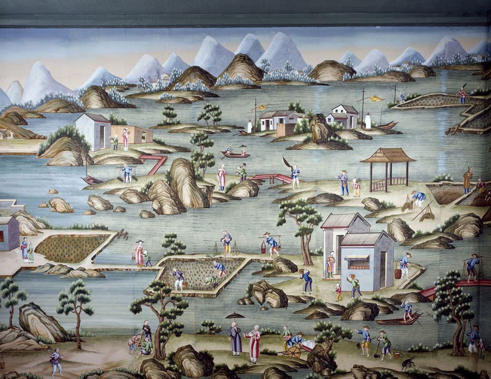 Set of nineteen non-repeating scenic wallpaper panels. Nine panels of rice cultivation and ten panels of porcelain production