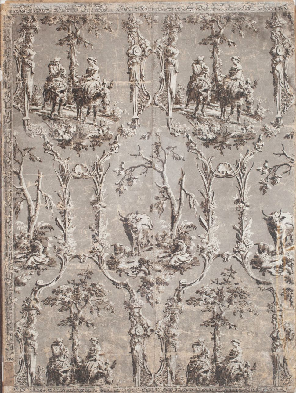 Fragment of wallpaper. This block printed pastoral landscape paper depicts vignettes of a man and woman riding donkeys altern