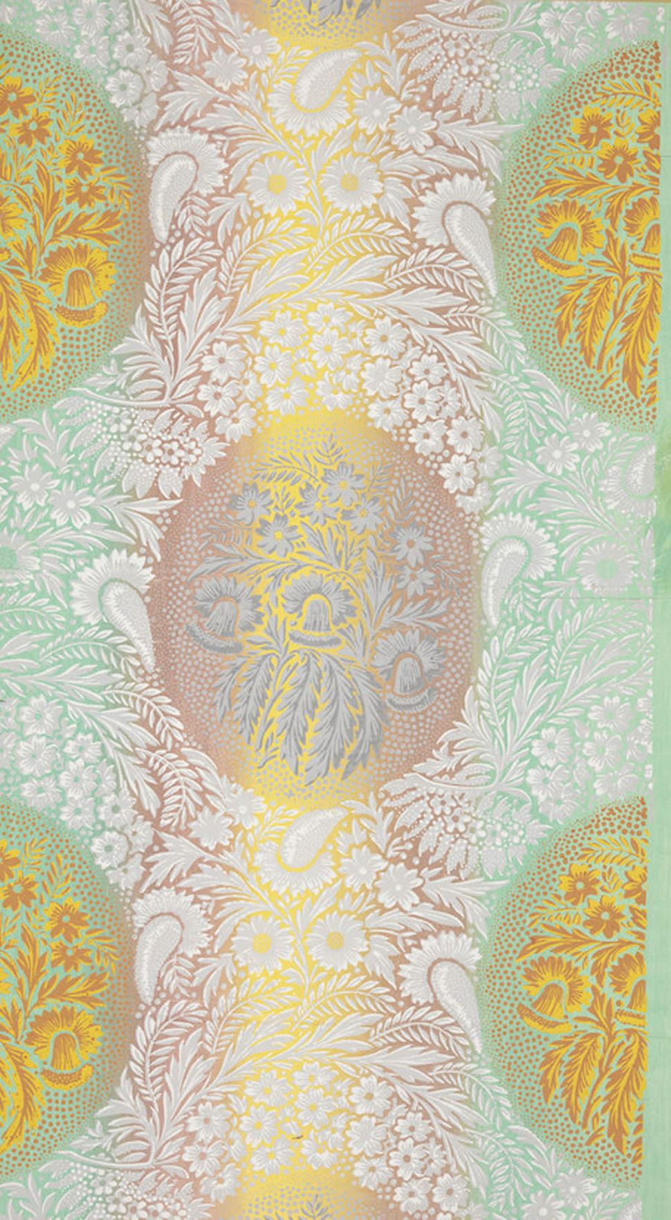 Unused sample. Large foliate pattern with large medallions comprised of a lacy floral background pattern. Printed in white, t