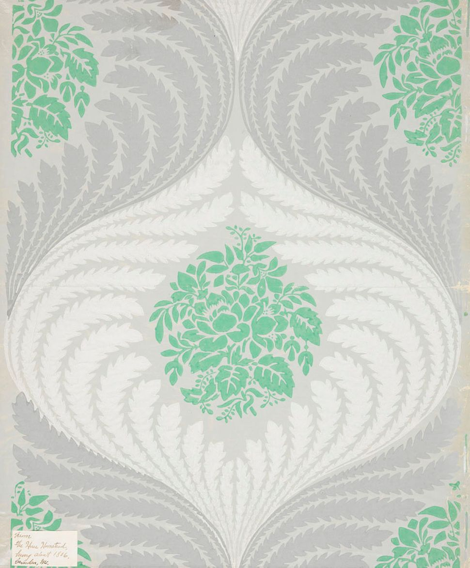 Unused sample. Sweeping serpentine stiff leaves framing floral medallions. Printed in grey, green and white on a pale polishe