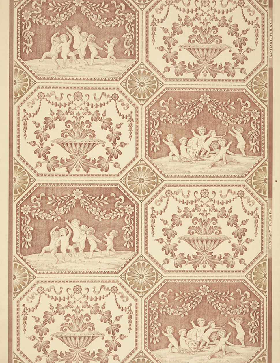 Unused sample. Panel with swags and cherubs frolicking with a lioness, alternating with a panel with an urn. Printed in rust