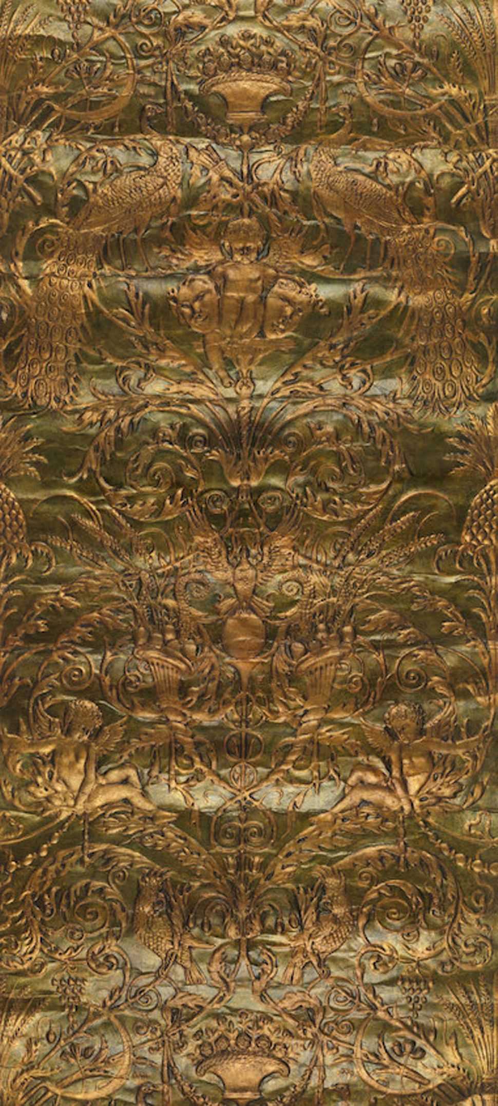 "Two partial rolls and one fragment of Japanese Leather wallpaper from Boston retailer A.H. Davenport. ""Peacocks and Amorini"""