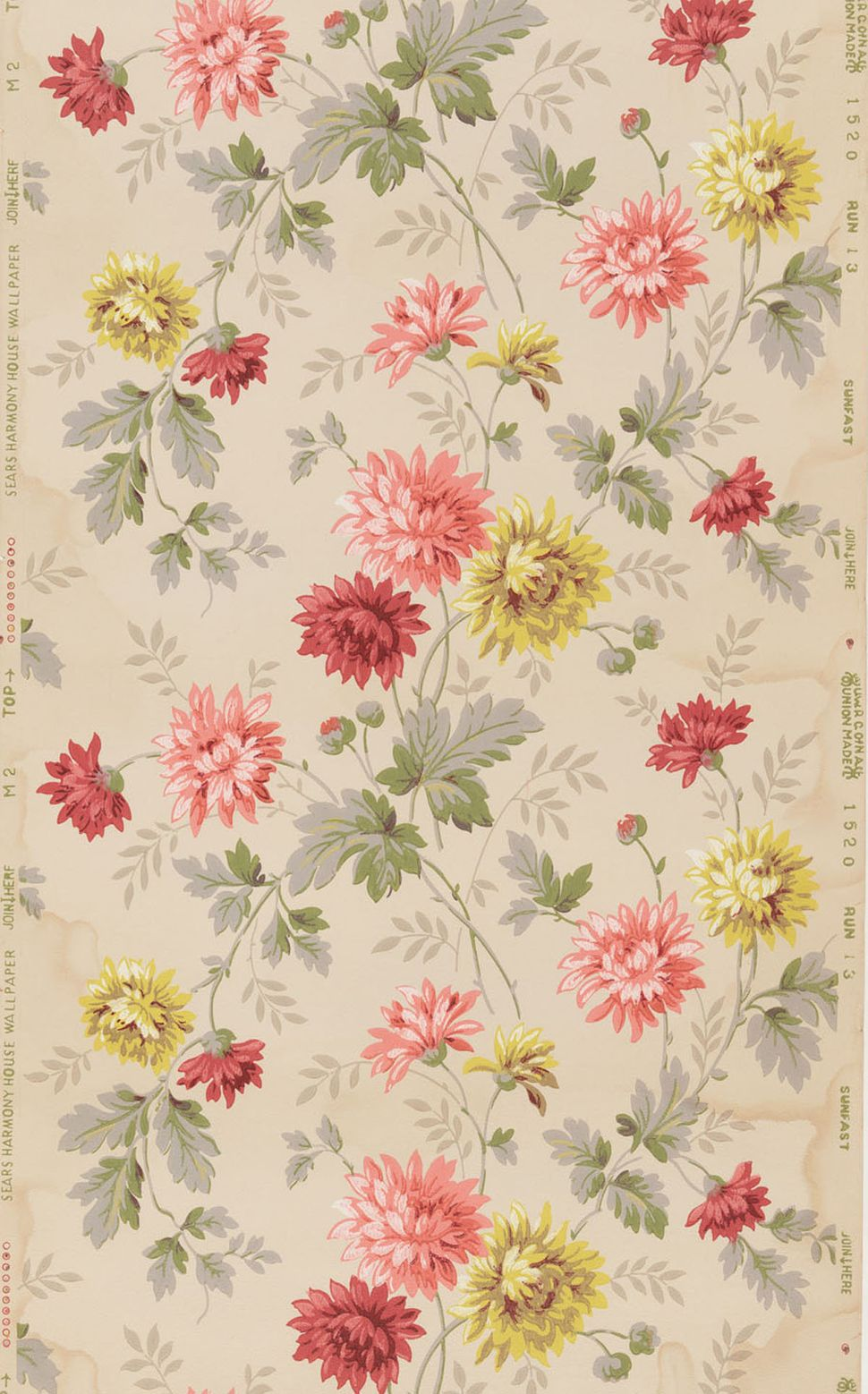 Unused roll of wallpaper. Lime green, light and dark pink flowers with sprays of green and gray foliage on tan ground. Sears,