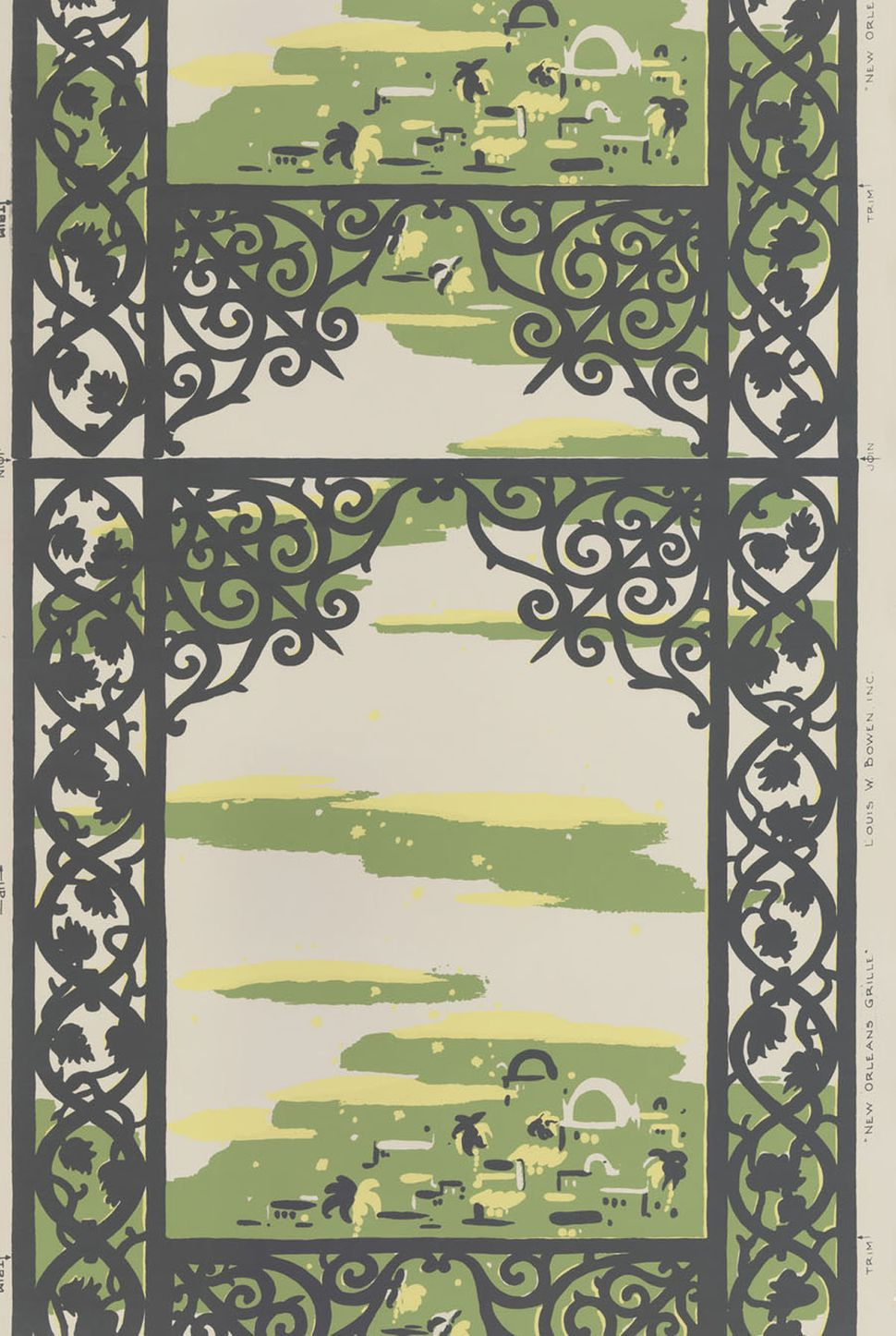 Unused roll of wallpaper. Dark grey scrolled trellis framing an abstract garden scene in green and yellow on cream ground. Lo