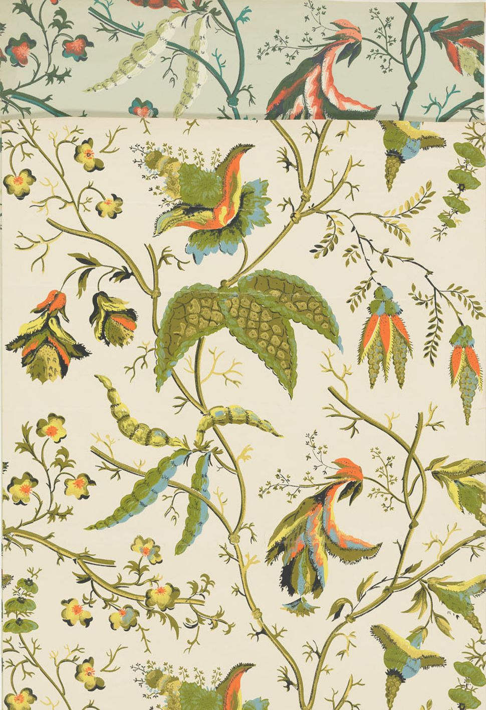 "Four unused samples of reproduction wallpaper in the ""East India"" pattern by Waterhouse Wallhangings, Inc. Wallpaper has a la"