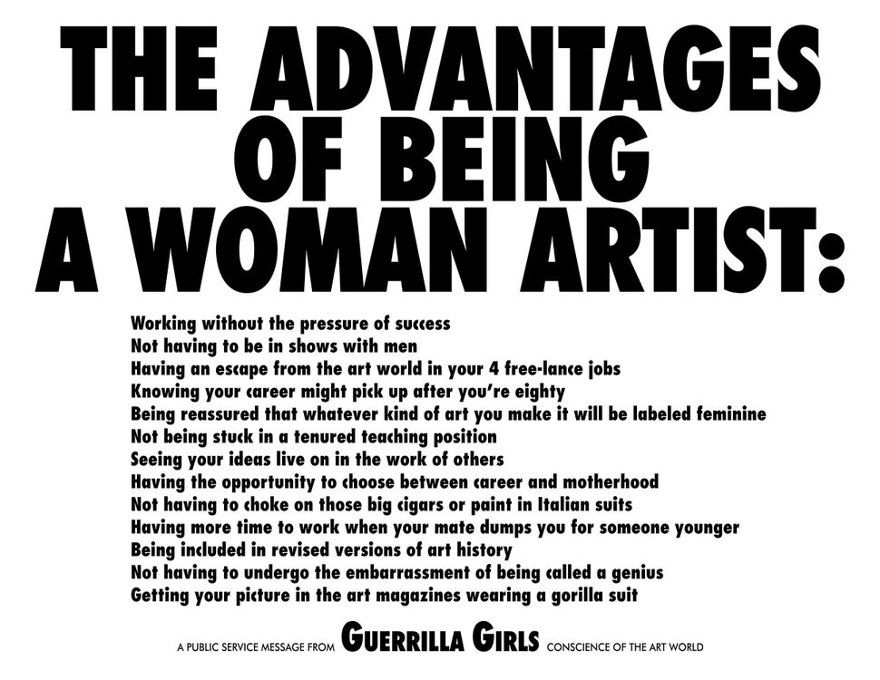 Guerrilla Girls, The Advantages of Being A  Woman Artist, 1988, 17 x 22 in. Pomona   College Collection. Museum purchase   wi