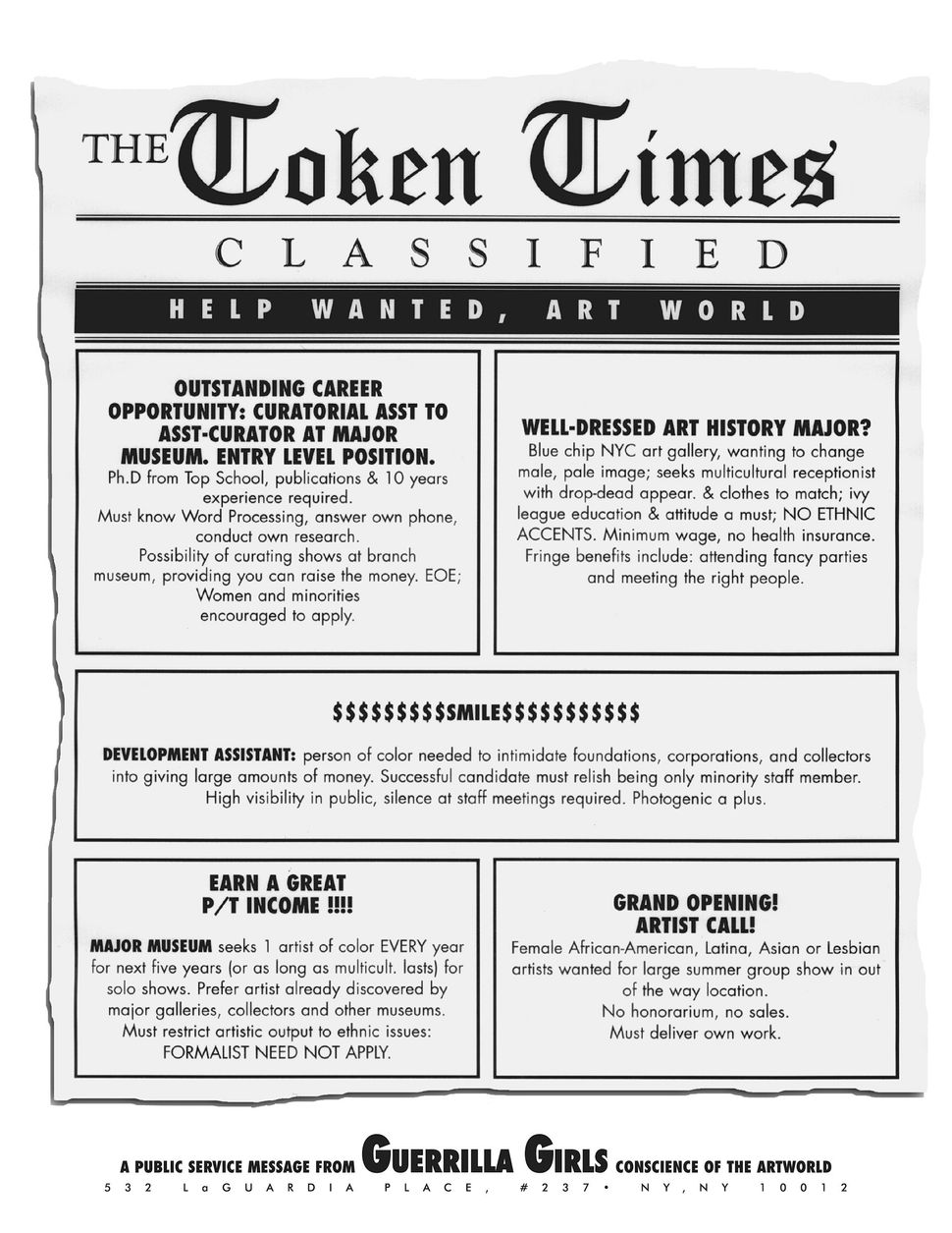 Guerrilla Girls, Token Times, 1995, 22 x   17 in. Pomona College Collection.   Museum purchase with funds provided   by the E