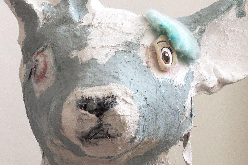 """Jennie Ottinger Blue Head 2015 Plaster, stuffed toy fur, oil paint 14"""" x 15"""" x 12"""""""