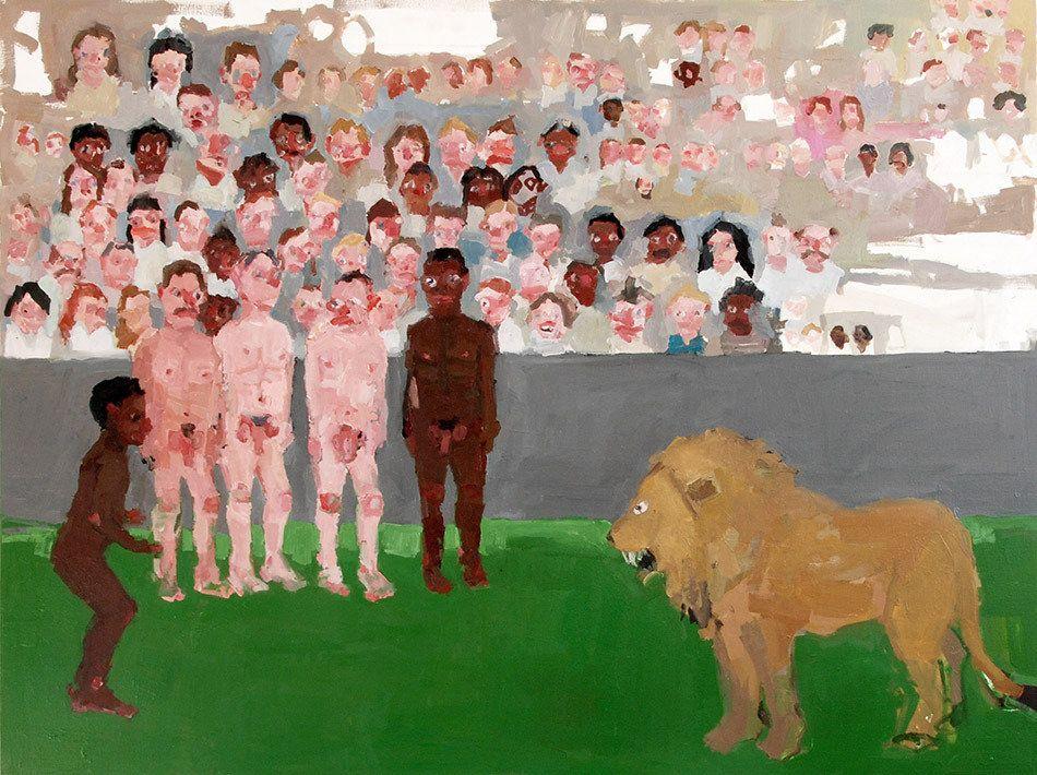 "Jennie Ottinger Lions Attack 2015 Oil on canvas 30"" x 40"""