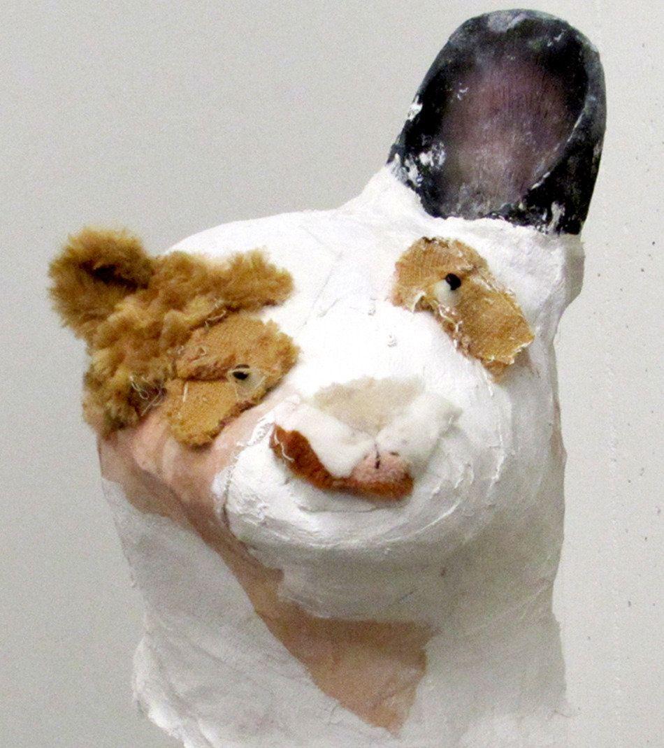 """Jennie Ottinger White and Tan Head 2015 Plaster, stuffed toy fur, oil paint 12"""" x 14"""" x 13"""""""