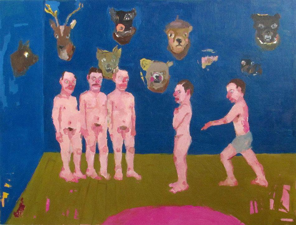 "Jennie Ottinger Trustfall 2015 Oil on canvas 36"" x 48"""