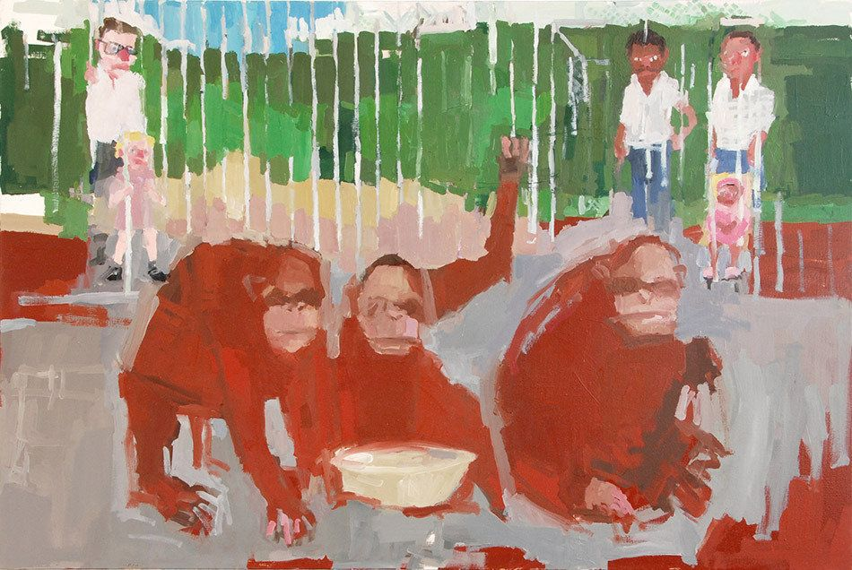 "Jennie Ottinger Orangutans 2015 Oil on canvas 24"" x 36"""