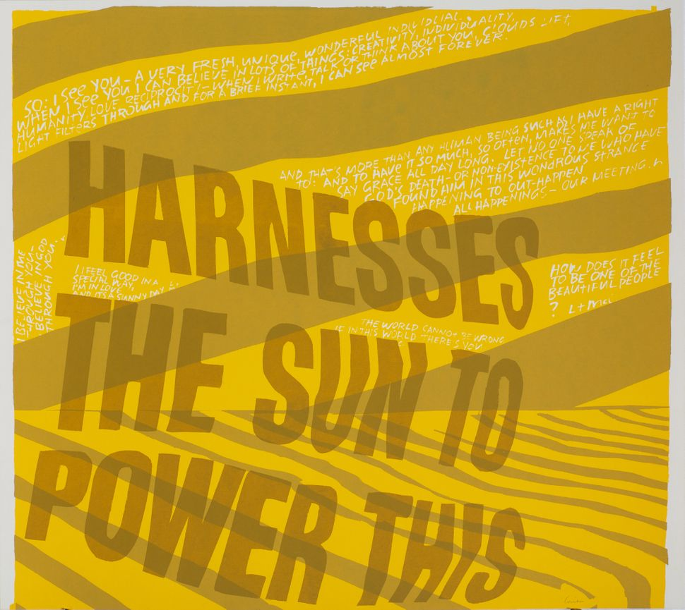 harness the sun, 1967 Silkscreen print on paper 20 ½ x 23 inches Corita Art Center, Los Angeles Photograph by Arthur Evans, c