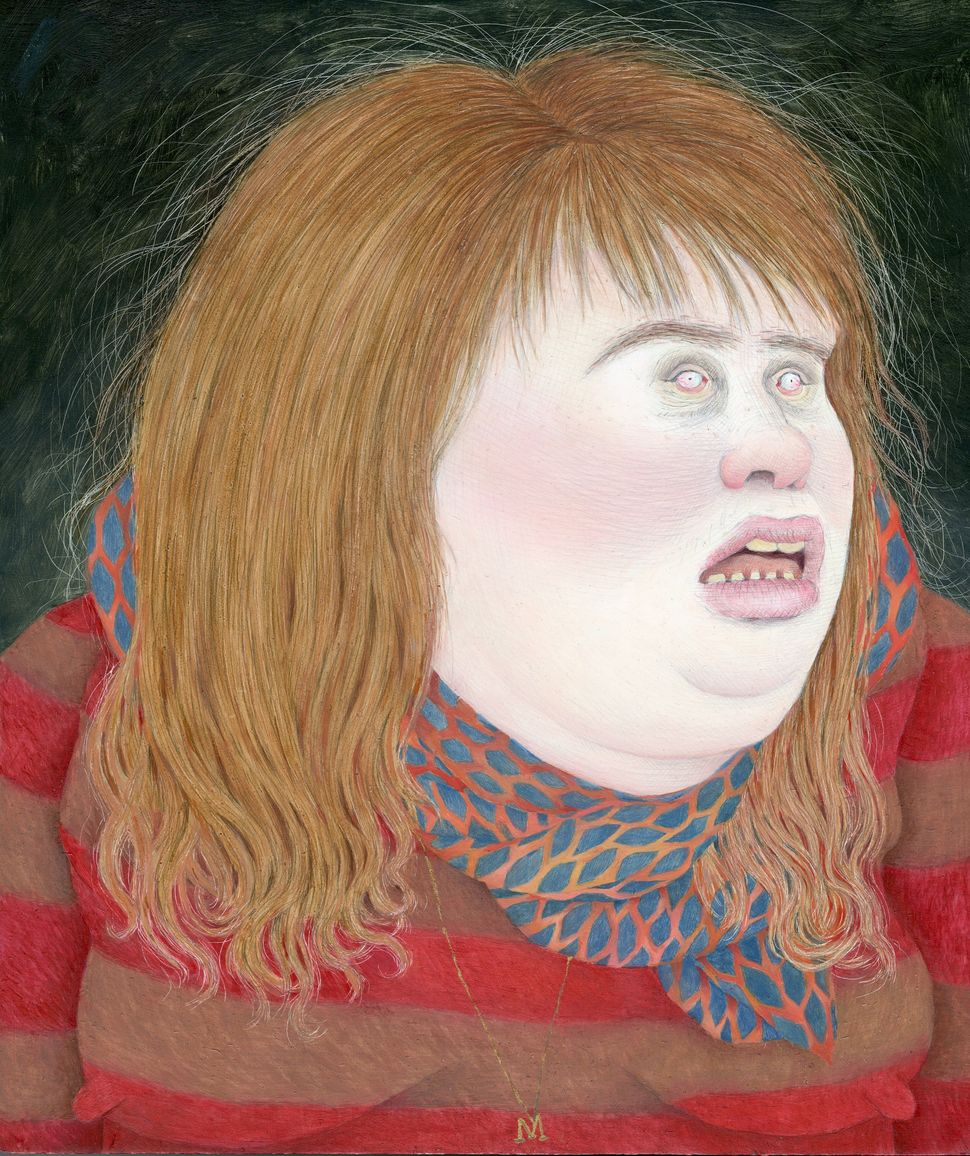 Self-Portrait	wearing	my	favorite	scarf	and	 sweater/my	face	the	fattest	it's	ever	been, 2013	 Graphite	and	oil	on	panel
