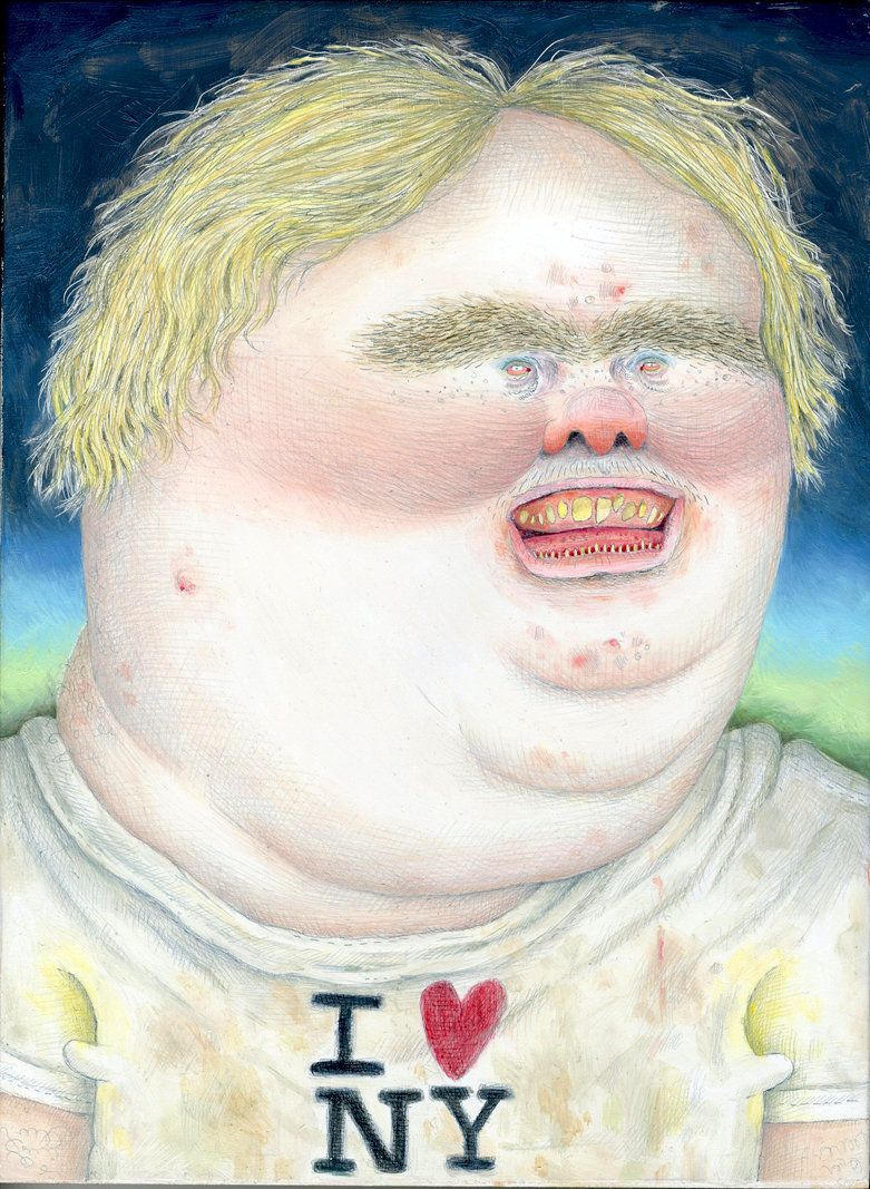 "Tourist	Bumpkin	at	Dusk,	2011 Graphite	and	oil	on	panel 12""	x	9"""