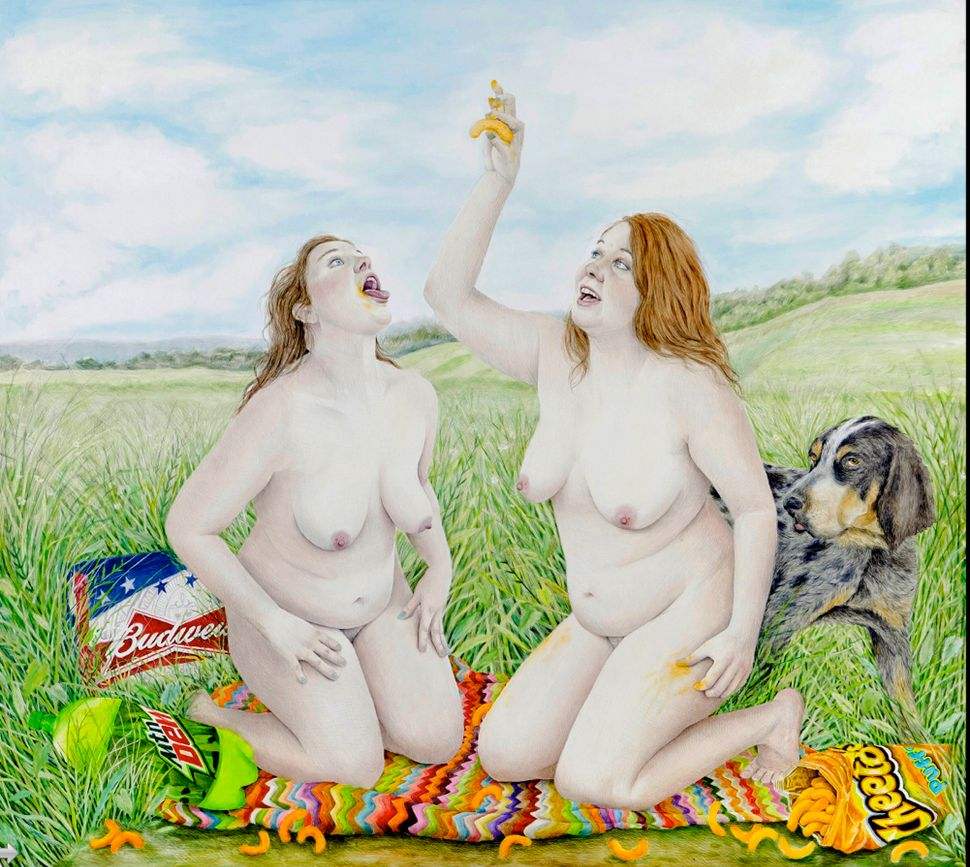 Homecoming	Picnic,	2012 Graphite	and	oil	on	panel 62	x	69""