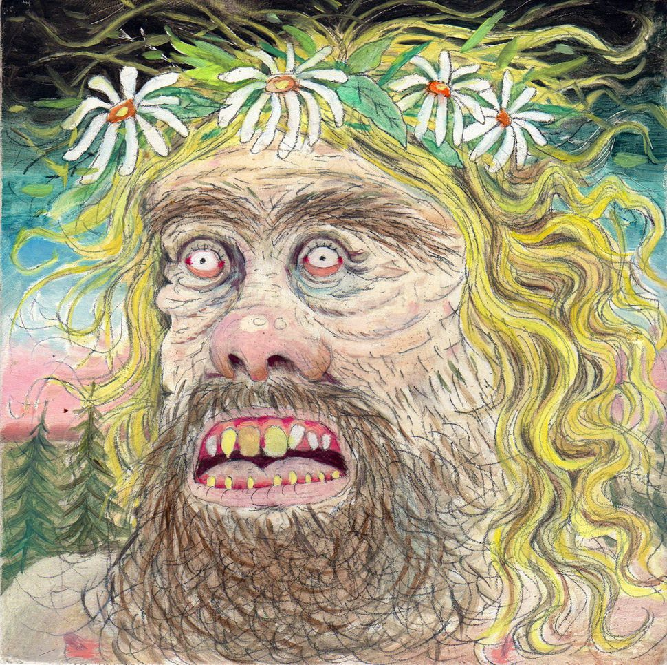 "Hippie	Witch	Man,	2014 Graphite	and	gouache	on	masonite 6""	x	6"""