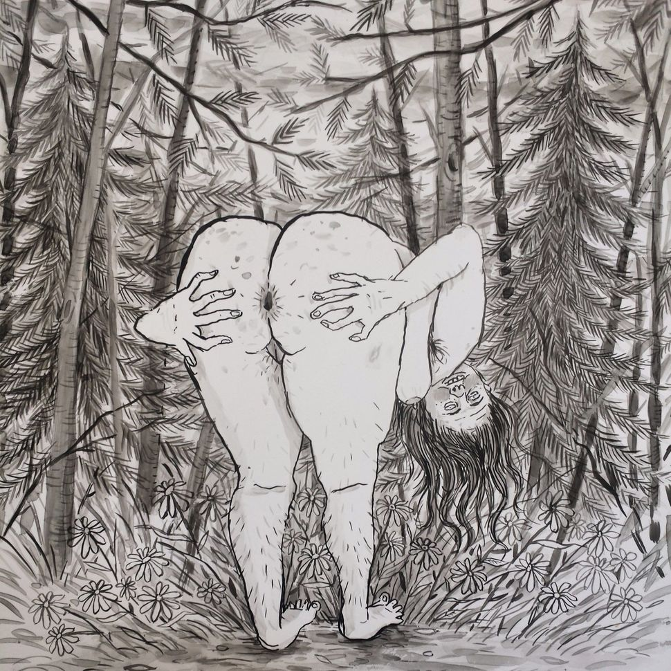 "Butt,	2014 Ink	on	vellum 12.75""	x	11"""