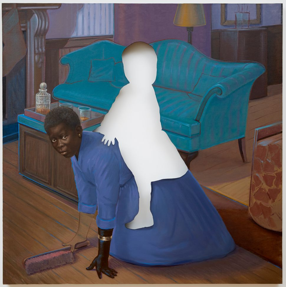 Space to forget, 2014 oil on canvas 64 x 64 x 2 3/4 inches ©Titus Kaphar. Courtesy of the artist and Jack Shainman Gallery, N