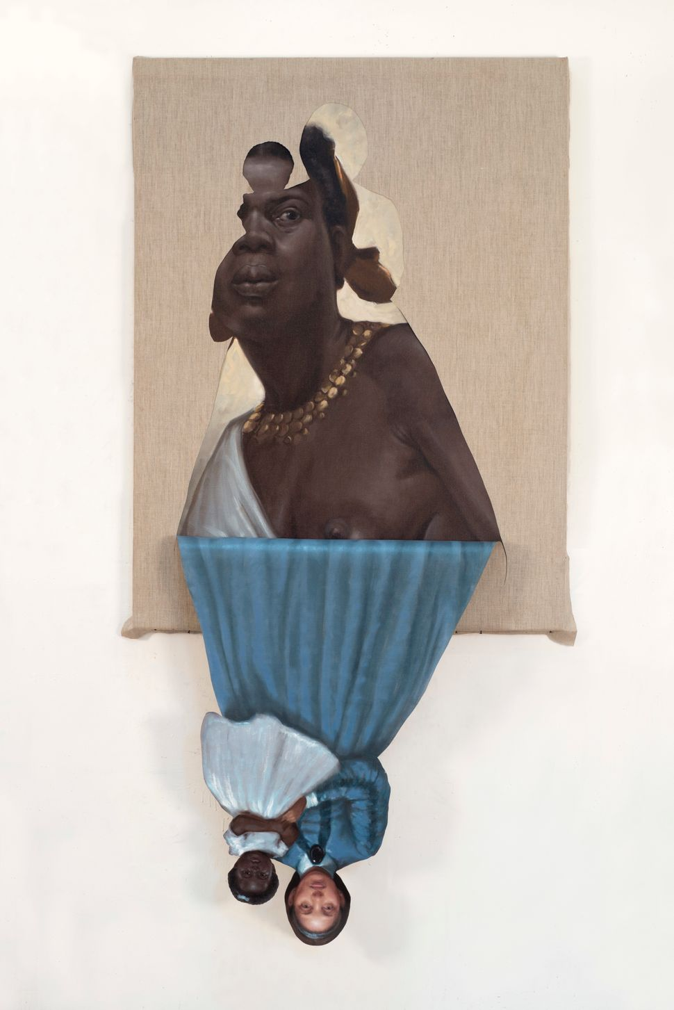 Her Mother's Mother's Mother, 2014 oil on canvas 72 x 36 x 1 3/4 inches ©Titus Kaphar. Courtesy of the artist and Jack Shainm