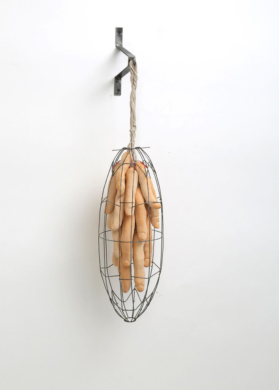 There Is No Queen In This Hive, 2014, 35 x 10 x 8, Steel, ceramic, rope