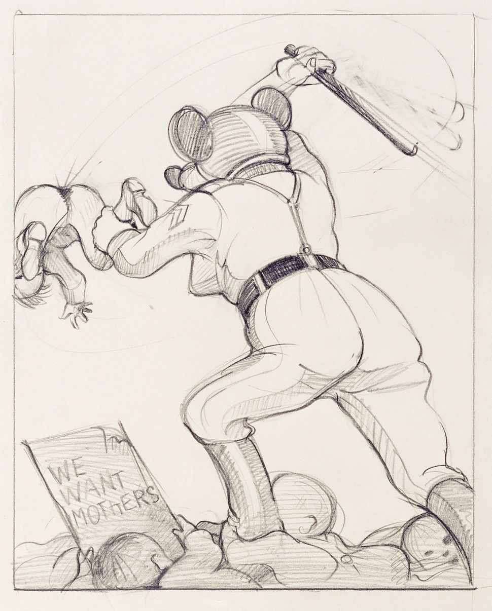 Untitled (We want mothers), 1977‐1979 (drawing for Babylon, first published 1979 at Diogenes Verlag AG, Zürich) Black grease