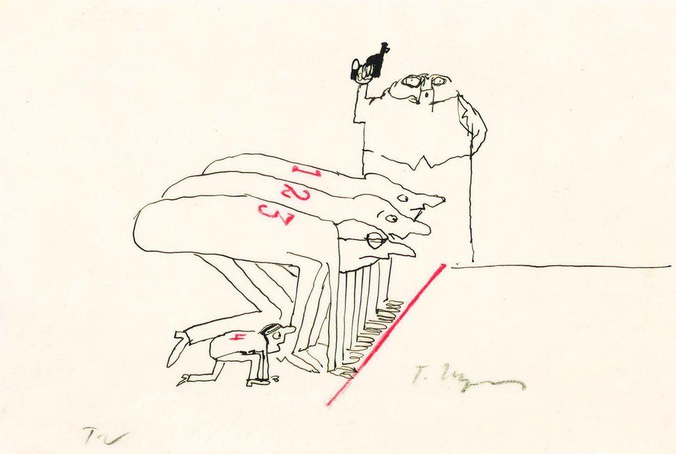 Untitled, 1962 [variation on Der Herzinfarkt (Heart attack), pub. 1962 by Diogenes Verlag AG, Zürich] Ink and colored pencil