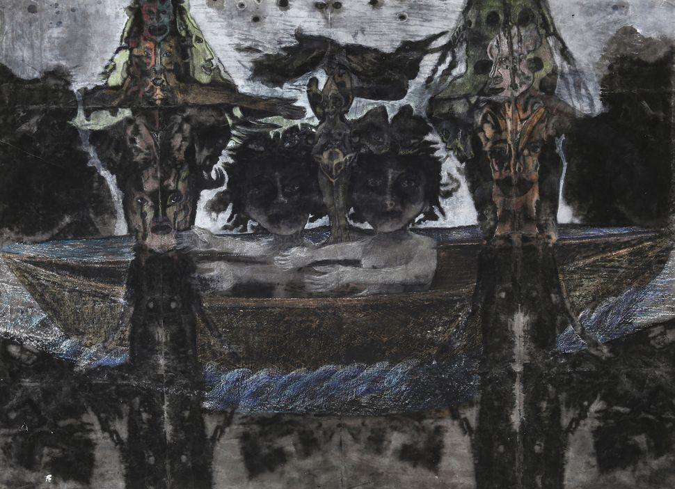 Le voyage, 2013/2014 mixed media on paper 100 x 158 cm © Polad-Hardouin Gallery