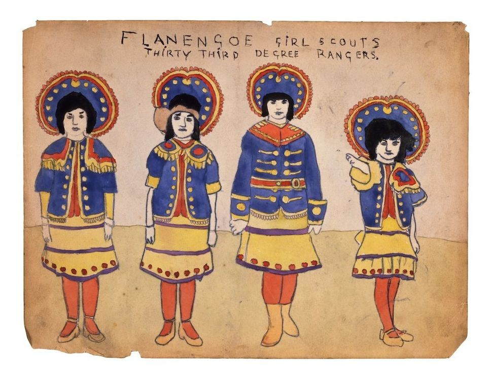 Flanengoe Girlscouts Thirty Third Degree Rangers, n.d. watercolor and pencil on paper 8 x 12 inches (20.3 x 30.5 cm)