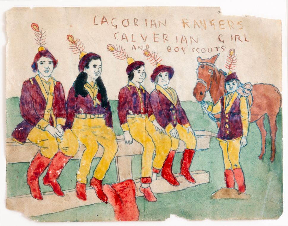 Lagorian Rangers [Calverian Girl & Boy Scouts], n.d. Watercolor and pencil on paper 8 x 12 inches (20.3 x 30.5 cm)