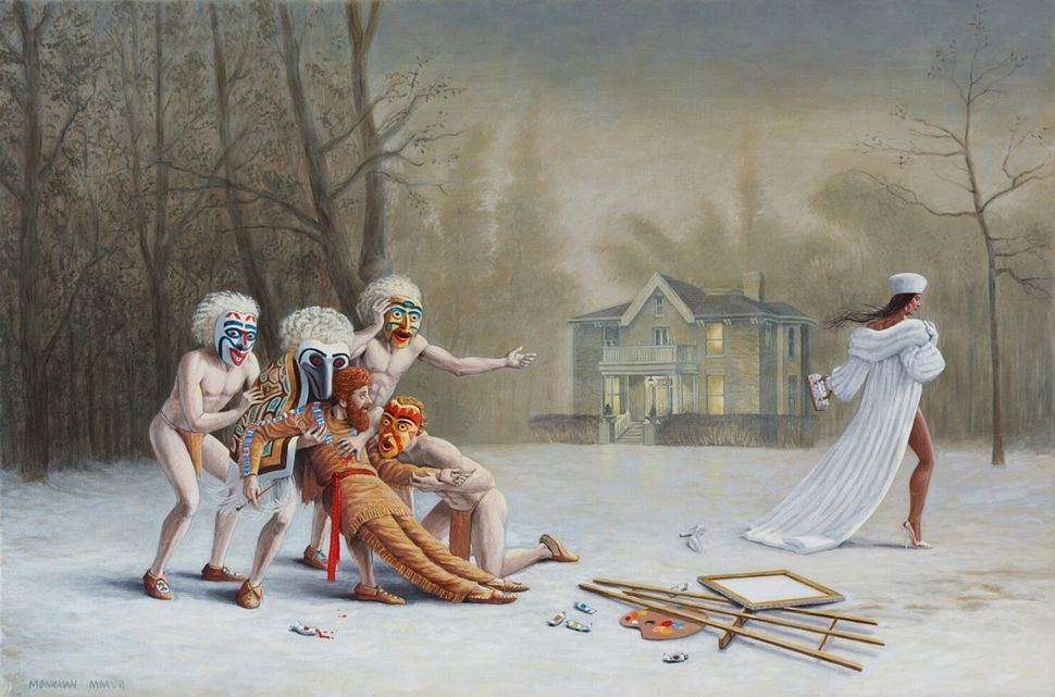 Kent Monkman, Duel After the Masquerade, 2007, Acrylic on canvas, 20 x 30 in. Private collection of Jennifer Dattels.