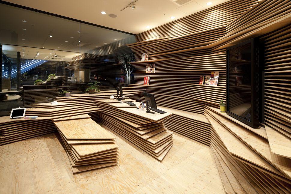 "Shun Shoku Lounge by Guranavi / Kengo Kuma & Associates (Japan): ""<a href=""http://www.archdaily.com/468116/shun-shoku-lounge-"