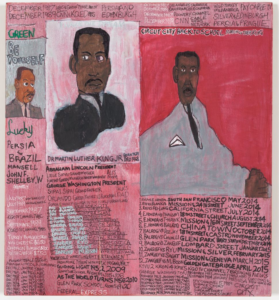 I	Have	the	Dream	Dr	Martin	Luther	King	Jr by	Daniel	Green	©	2014 Creativity	 Explored Licensing,	LLC,	mixed	media	on	wood,	1