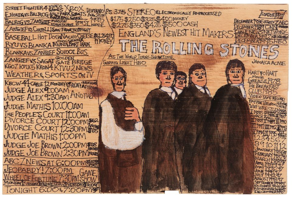 The	Rolling	Stones by	Daniel	Green	©	2012 Creativity	Explored Licensing,	LLC, mixed	Media	on	wood,		11.25	x	16.75	inches.