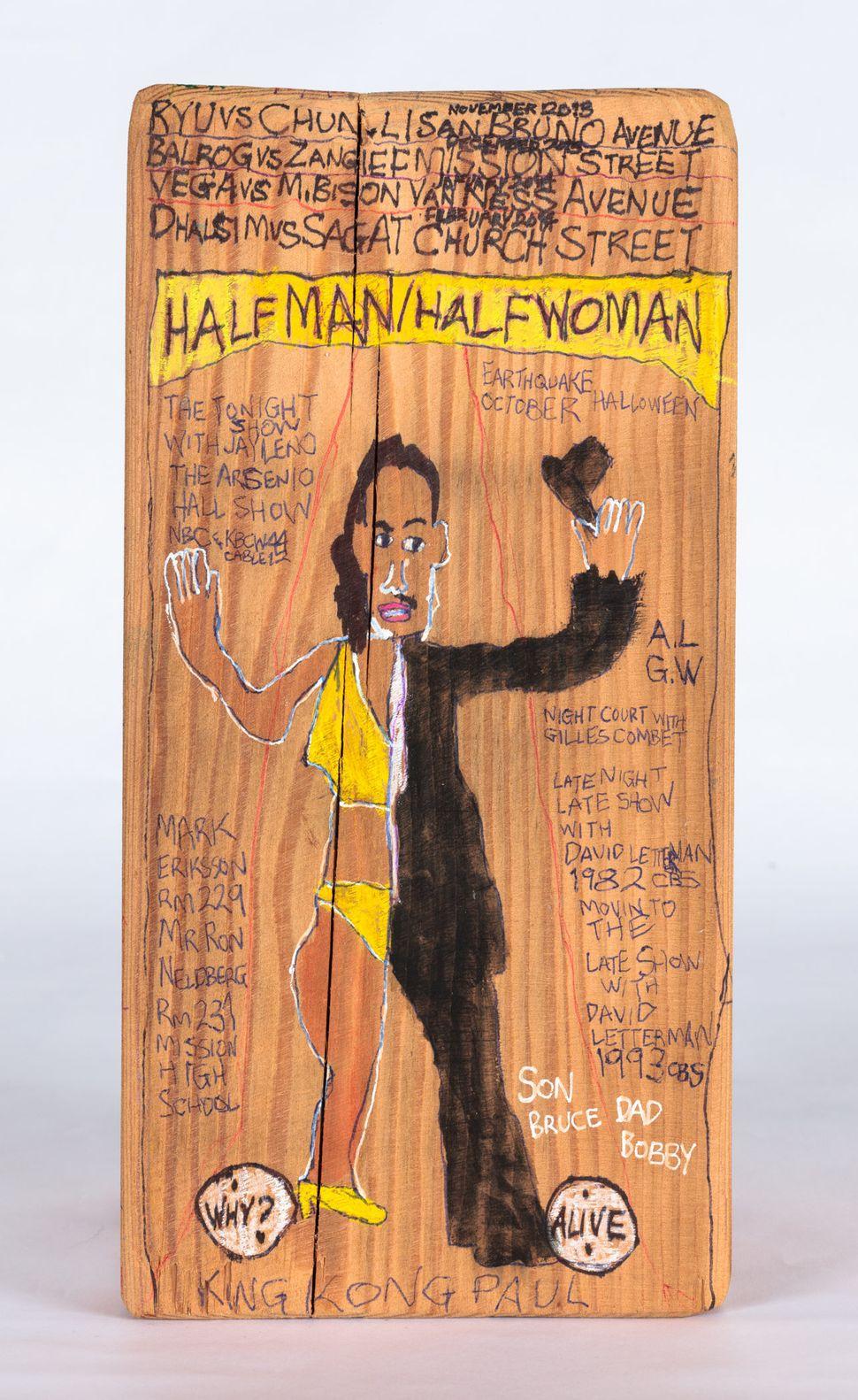 HalfMan/HalfWoman byDanielGreen©2013 CreativityExplored Licensing,LLC, mixedmediaonwood,12x6x6inches.