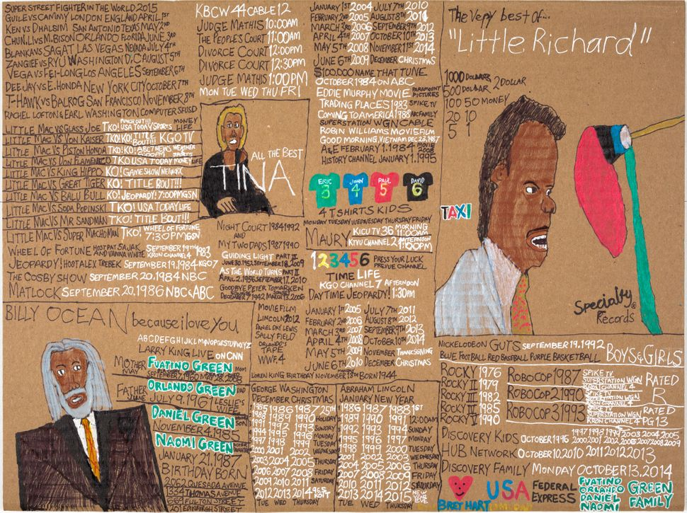 Billy	Ocean	&	Little	Richard	&	Tina	Turner by	Daniel	Green	©	2014	Creativity	 Explored	,	LLC,	color	pencil	and	marker	on	pape