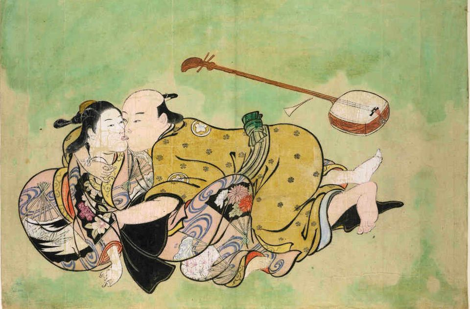 Nishikawa Sukenobu (1671-1750), Sexual dalliance between man and geisha, c. 1711-16, hand-coloured woodblock print,. 1985,102