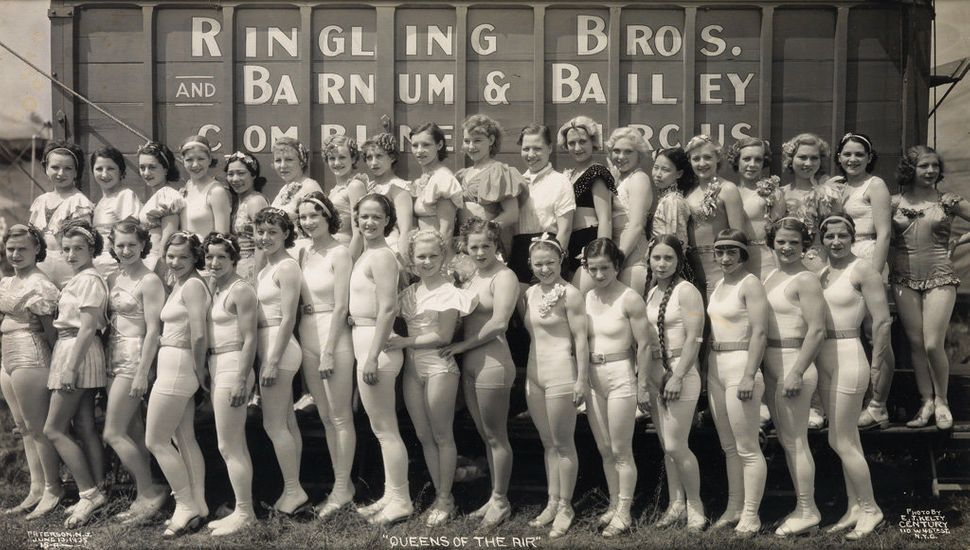Sale 2374 Lot 35: KELTY, EDWARD J. (1888-1967) Group of 3 panoramic photographs of ladies of the circus, with Mary Ellen Ketr