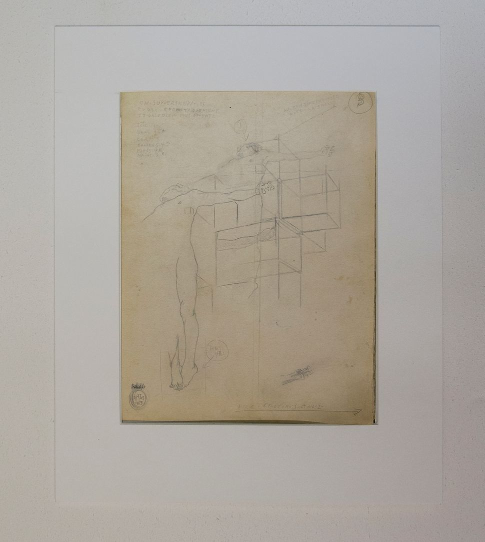 Preliminary pencil study for CORPUS HYPERCUBUS, 1953, Dali at NAC, photo by Andrew Werner