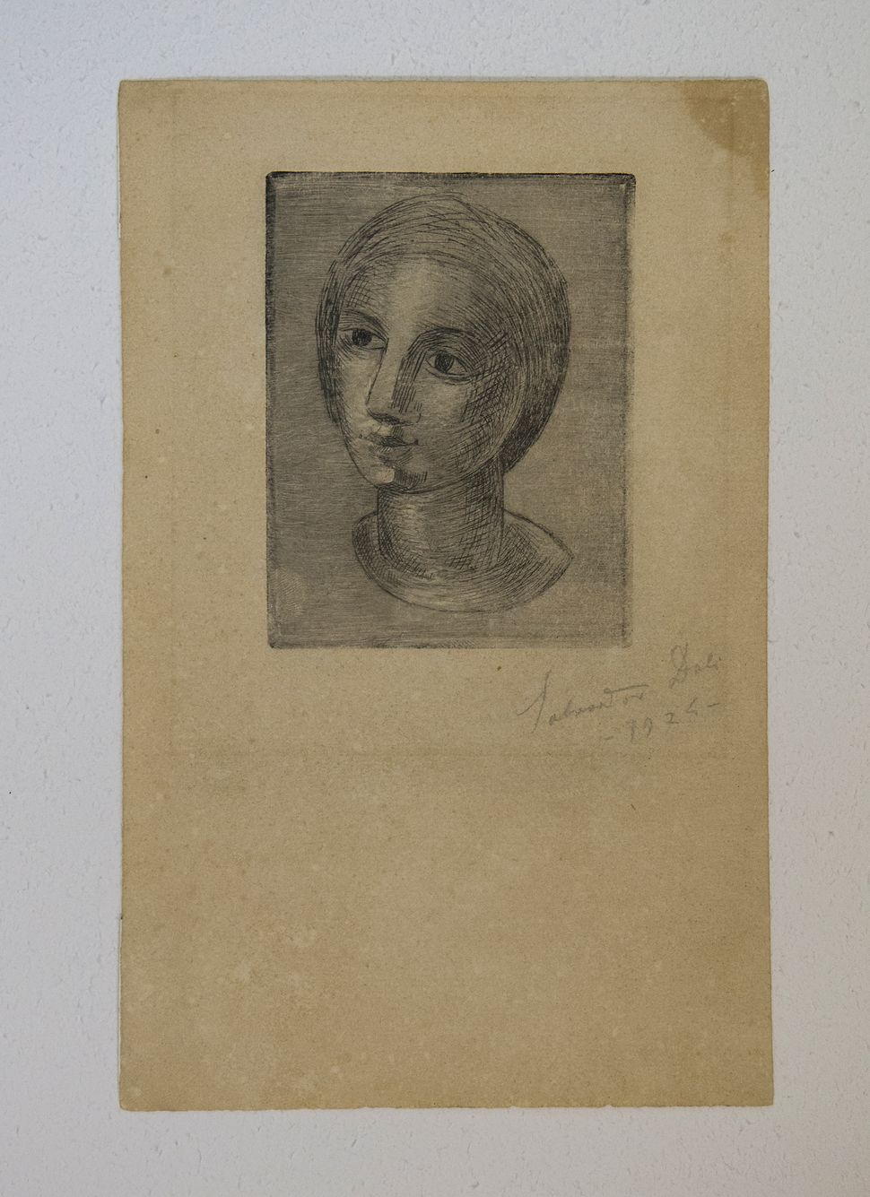 Head of a Girl, Etching, 1926, Collection of Walter Saphire, Dali at NAC, photo by Andrew Werner