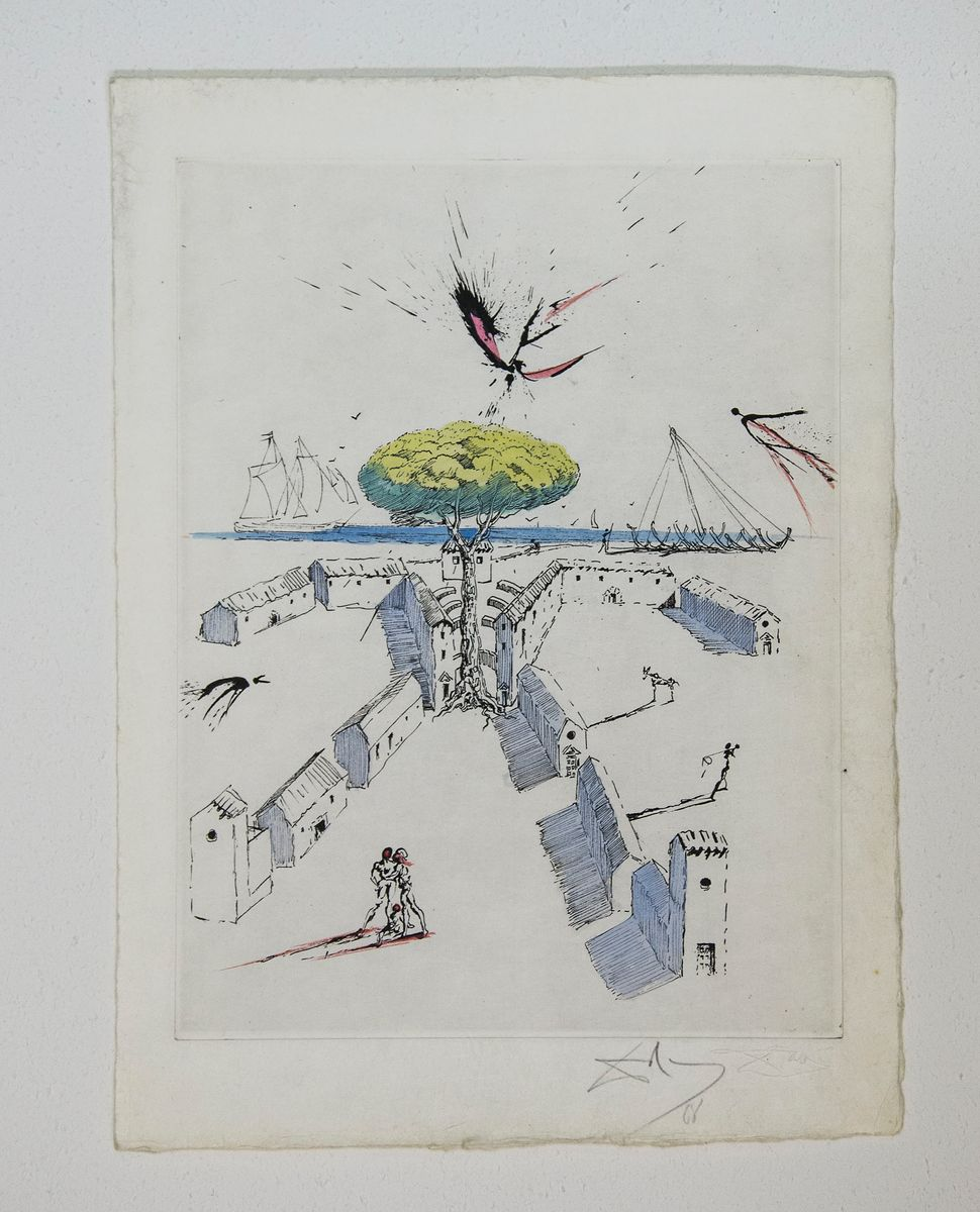 Hand colored etching, Collection of Lawrence Saphire, Dali at NAC, photo by Andrew Werner