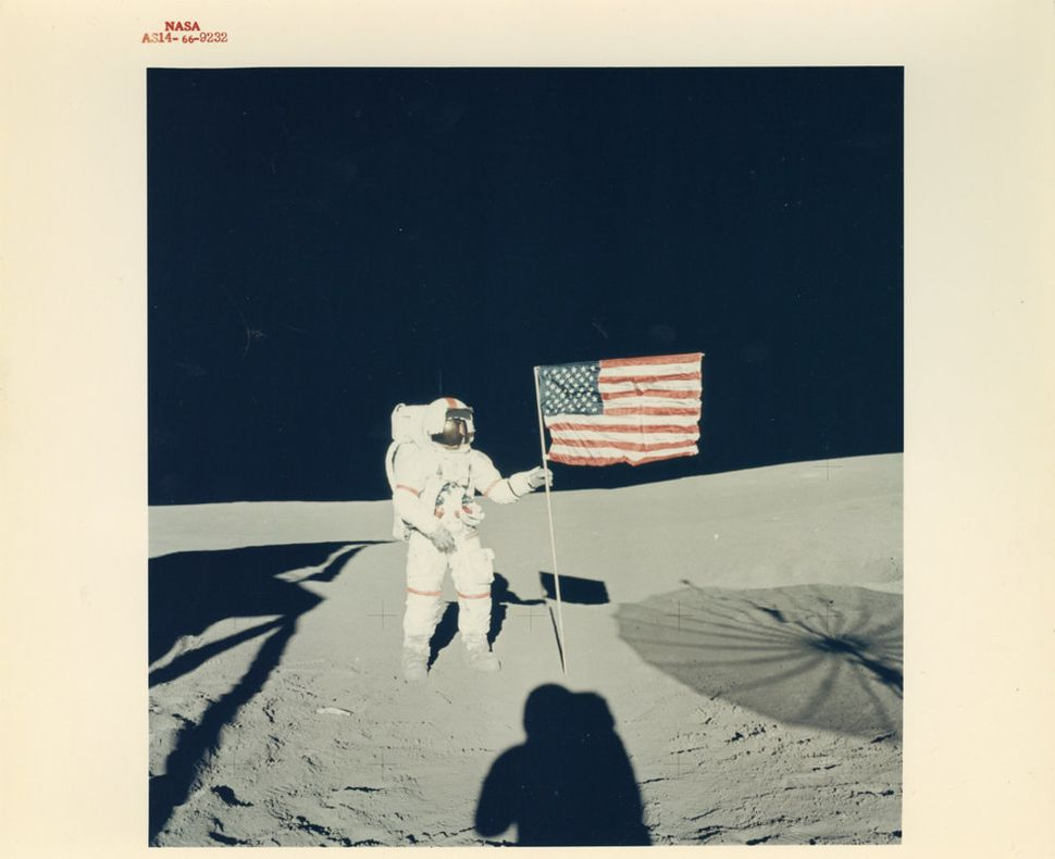 Edgar Mitchell, Alan Shepard and the American flag, Apollo 14, February 1971