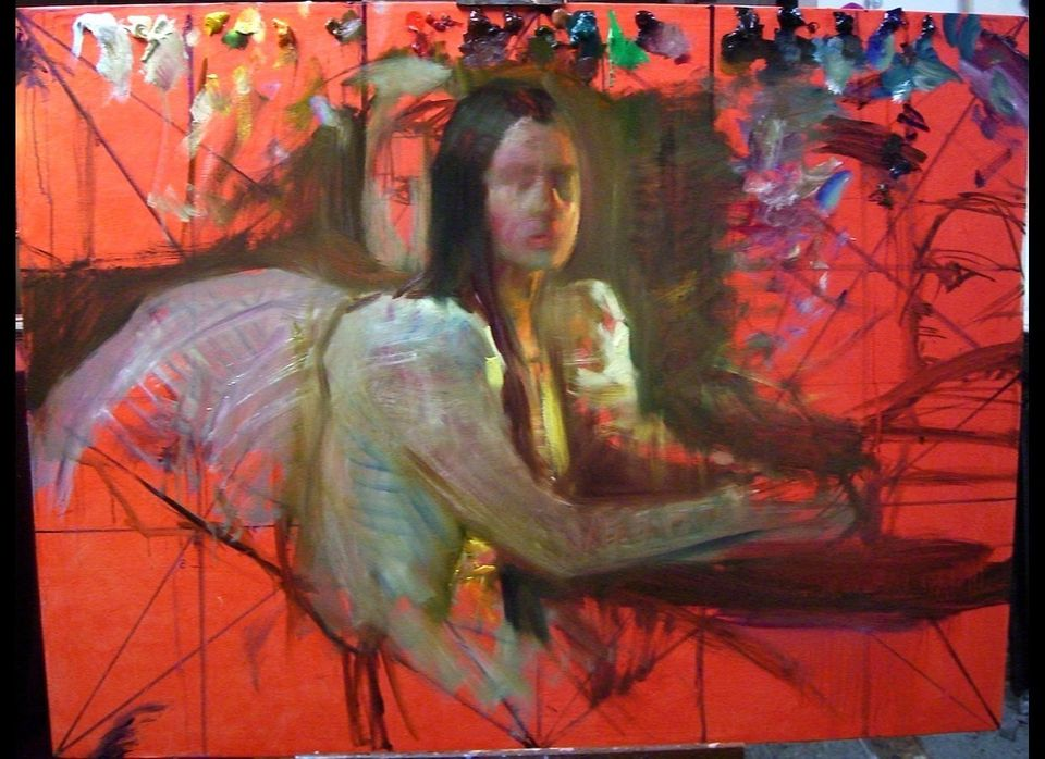 "Steven Assael, <em>Bride with Cards</em>, 2012, oil on canvas, 48""x60"" - lay in state"