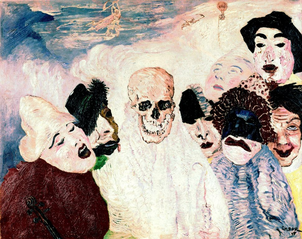 1.	Les Masques et la Mort, tableau par James Ensor (1897) collection Musee des BeauxArts-Liege --- the masks and Death, paint
